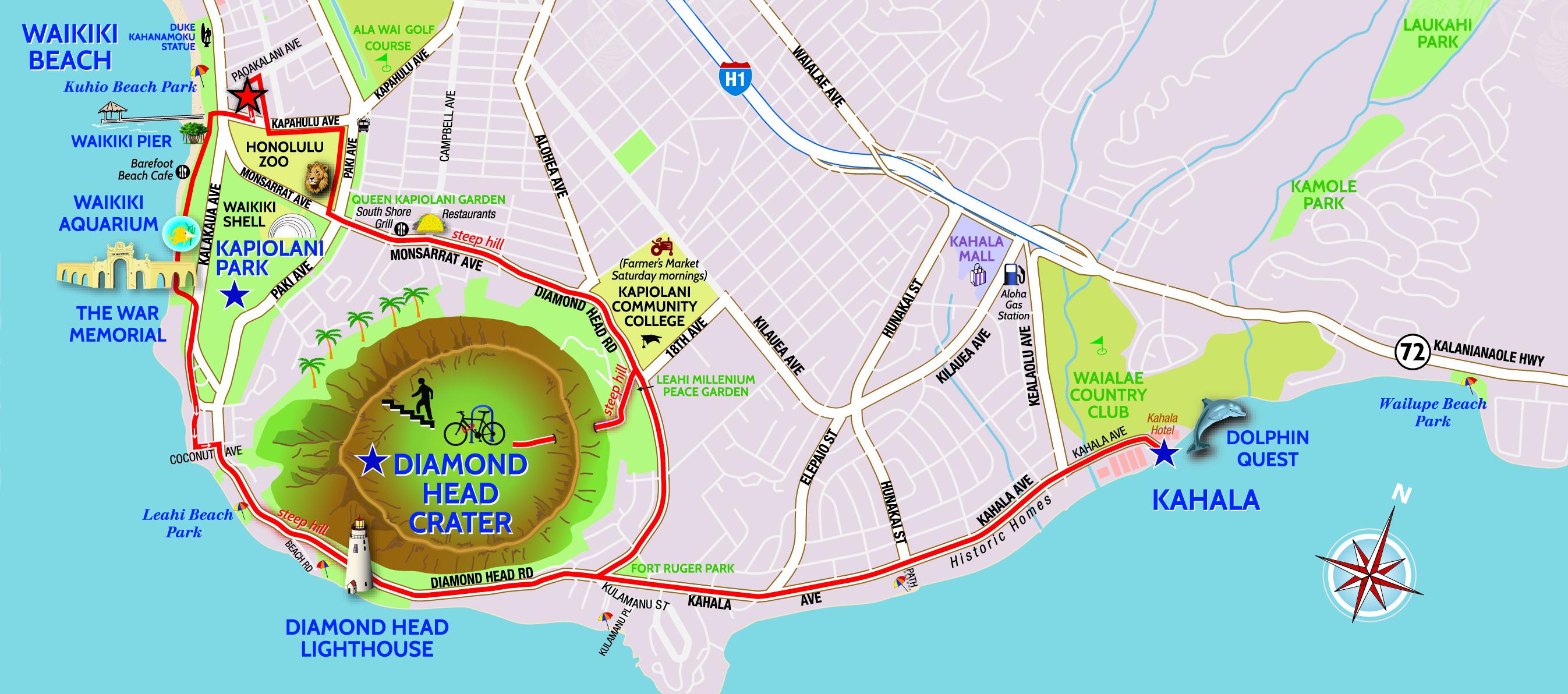 Diamond Head Bike & Hike - Hawaii Bike Rental on mount thielsen trail map, koko crater trail map, kaena point trail map, hanalei trail map, hanauma bay trail map, waimea trail map, kihei trail map, hawaii map, tantalus trail map,