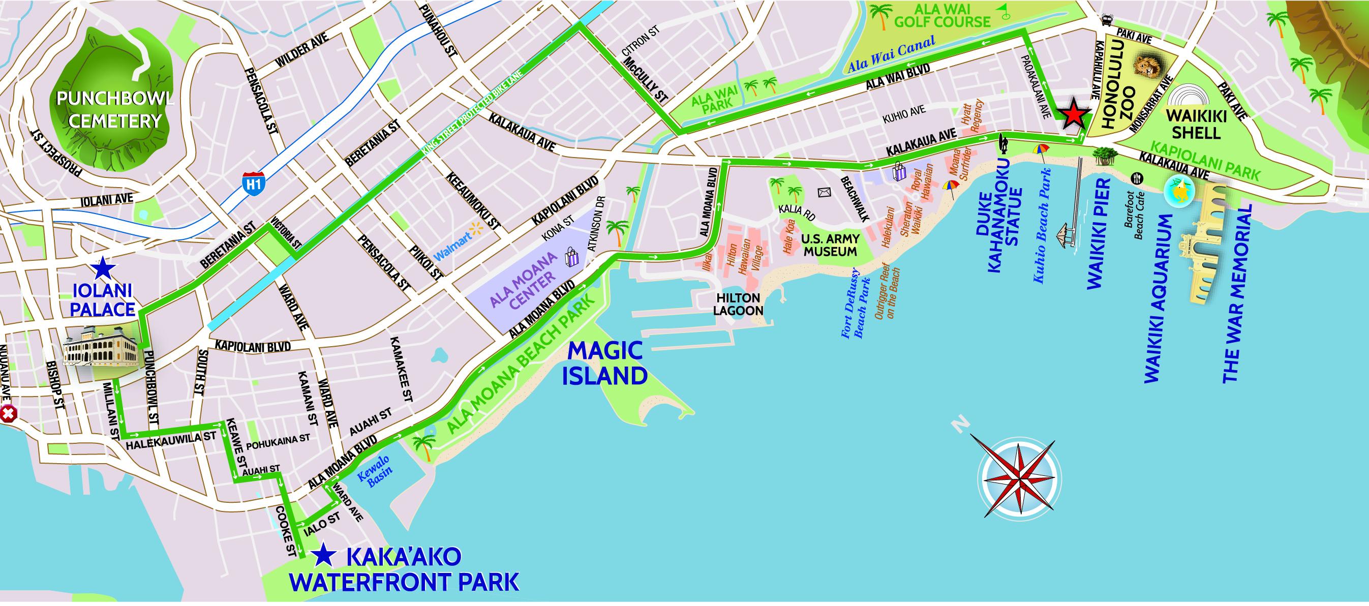 Kaka Ako And Iolani Palace Bike Ride Map